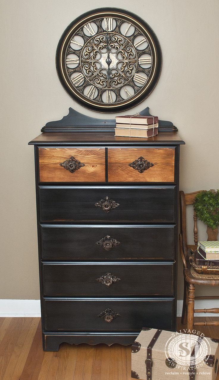 Boring dresser restyled with a small roadside find. #MissMustardSeed #MMSTypewriterBlack #GeneralFinishes #GelStain