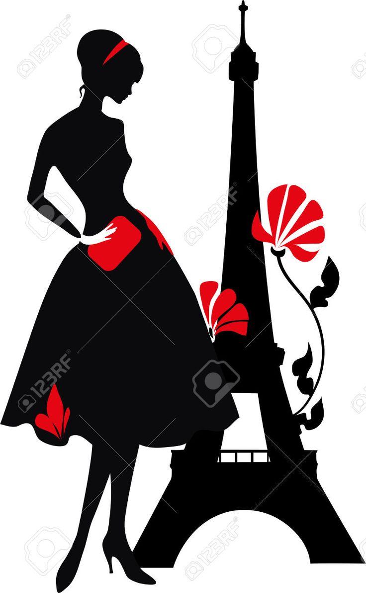 Rojo Retro De La Mujer Y La Silueta Negro Con La Torre Eiffel Ilustraciones Vectoriales, Clip Art Vectorizado Libre De Derechos. Image 39160386.