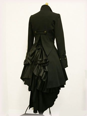 Black steampunk victorian tailcoat with bustle