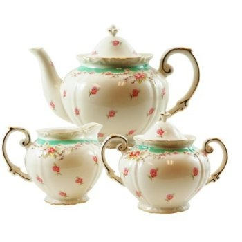 Green vintage rose teapot serving tea sets pinterest Green tea pot set