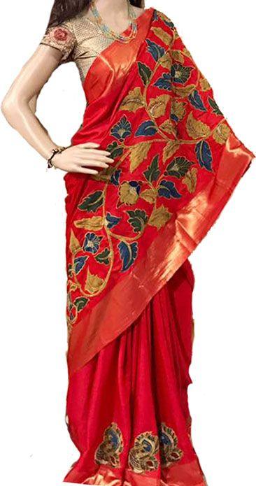 Red Kalamkari Applique Work Pure Silk Saree