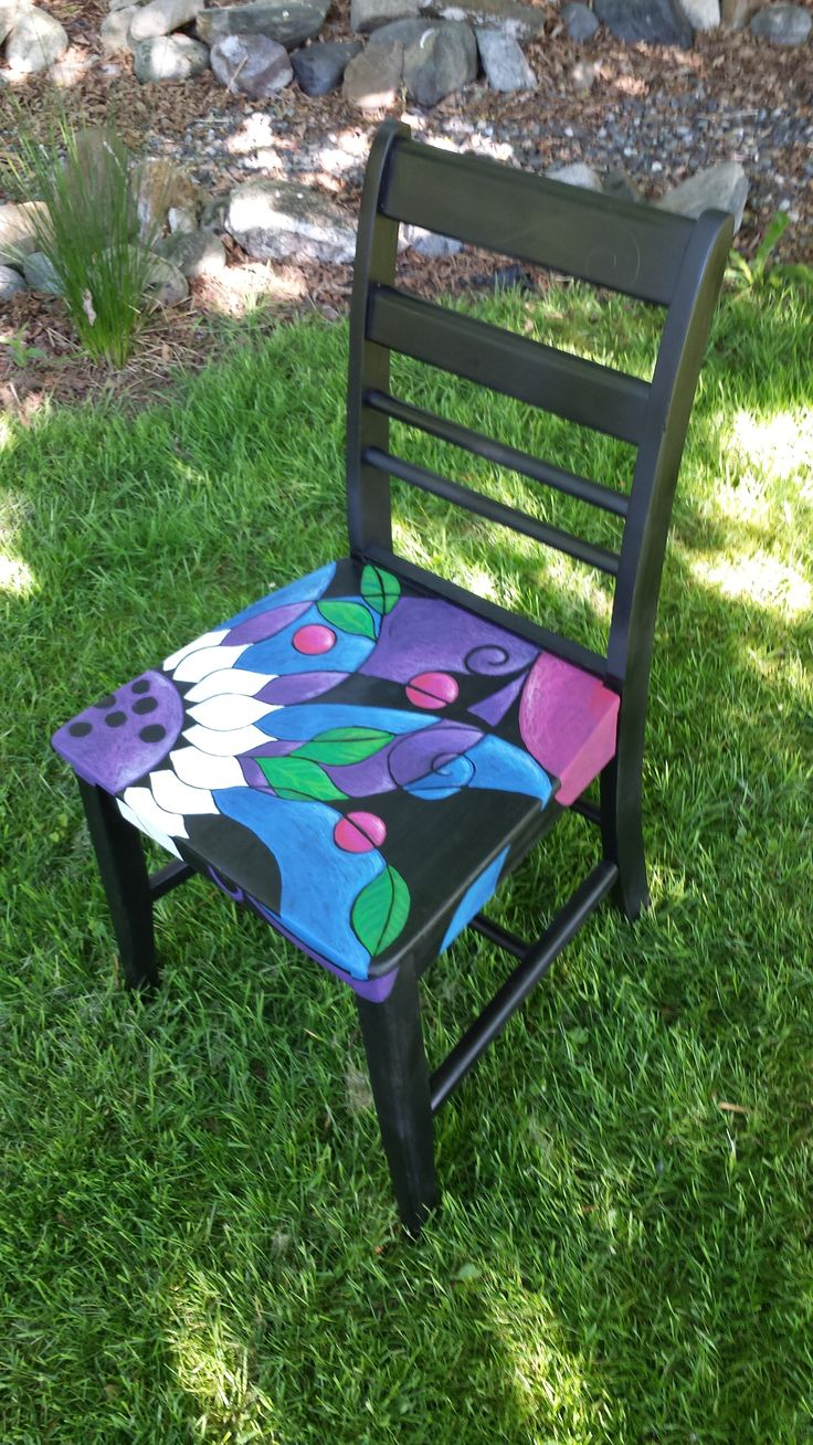best 25 hand painted chairs ideas on pinterest painted. Black Bedroom Furniture Sets. Home Design Ideas