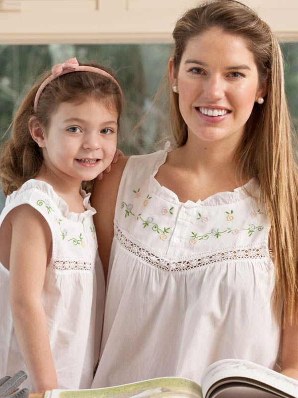 Mother Daughter Collection Maura Nightie and Ellie Little Girls English Cotton Dresshttp://www.jacarandaliving.com/index.php/children/mother-daughter-dresses.html