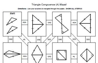 Triangle Congruence - 4 MAZES (SSS, SAS, ASA, AAS, HL) from Math Resources and Activities on TeachersNotebook.com (8 pages)
