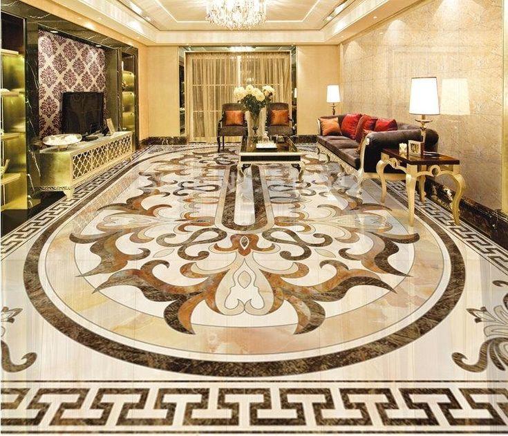 Classical 3D Pattern European Faux Marble Floor Mural Self