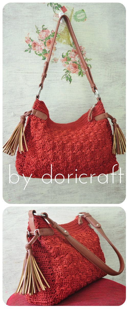 Crocheted bag, lining with faux leather handle.