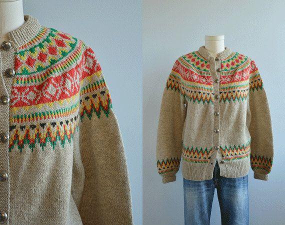 Vintage Nordic Wool Cardigan / 50s Hand Knit Fair by zestvintage, $98.00