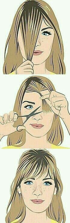 Do it yourself (diy) Trim or cut your bangs.  G;)