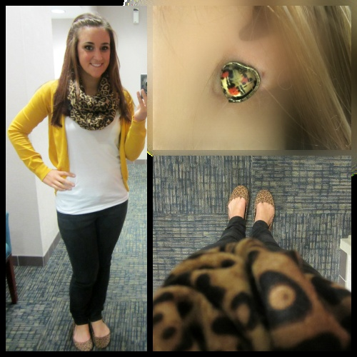 yellow cardigan and leopard print, earrings