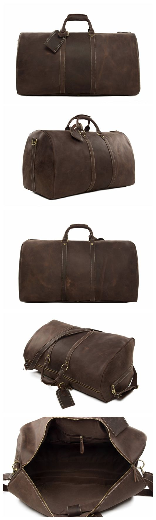 "Men's Leather Holdall Duffel Weekender Travel Bag Leather Overnight Bag Model Number: 12027 Dimensions: 23.6""L x 11.8""W x 13""H / 60cm(L) x 30cm(W) x 33cm(H) Weight: 5lb / 2.3kg Hardware: Brass Hardwar"