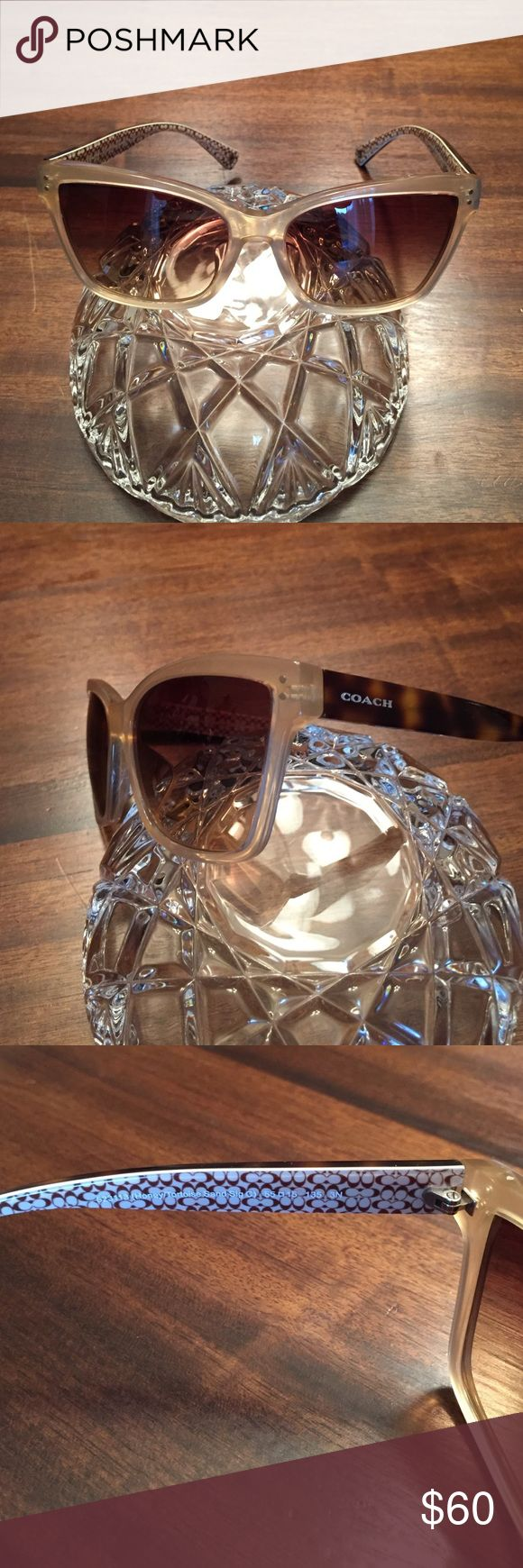 Authentic Coach sunglasses honey color Genuine coach sunglasses and a honey color slight cat eye shape.  These are in like new condition worn maybe once no case Coach Accessories Sunglasses