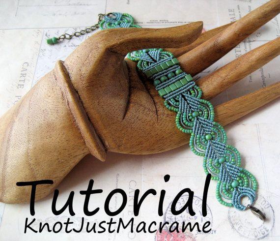 Aqua Micro Macrame Wrap Bracelet with Gemstone by KnotJustMacrame