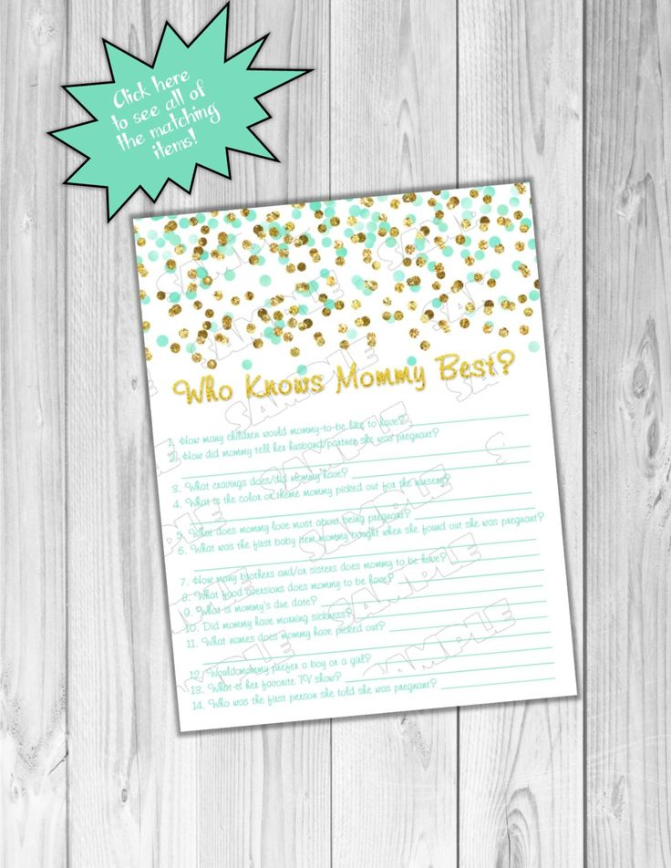 Gold and mint Baby shower games who knows mommy best game glitter Printable INSTANT DOWNLOAD UPrint by greenmelonstudios glitter baby shower by greenmelonstudios on Etsy