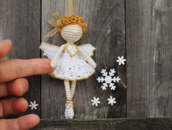 Ángel, Ángel de la Navidad, alas, hadas elfos, ganchillo bailarina, bailarín, de ganchillo adornos de Navidad, oro, blanco, beige