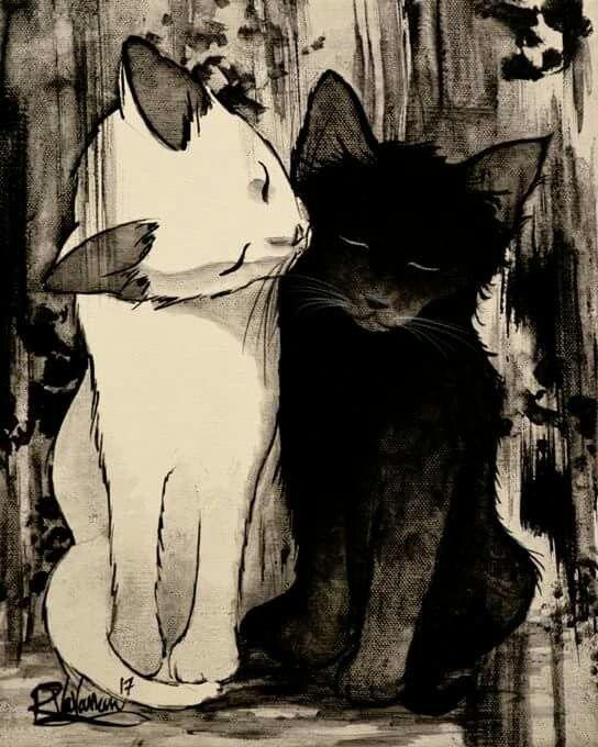 """TAKE CARE OF EACH OTHER"" Original painting by Raphaël Vavasseur art Original painting: http://www.ebay.com/sch/ombre-de-lune/m.html Fine art prints: https://www.etsy.com/listing/517480003"
