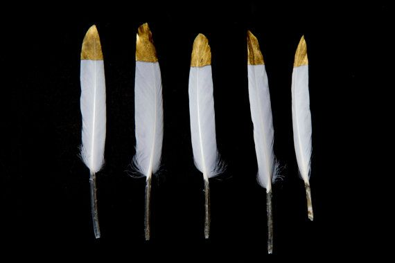 Gold Tipped Natural White Goose Craft by TheArtofRegressing