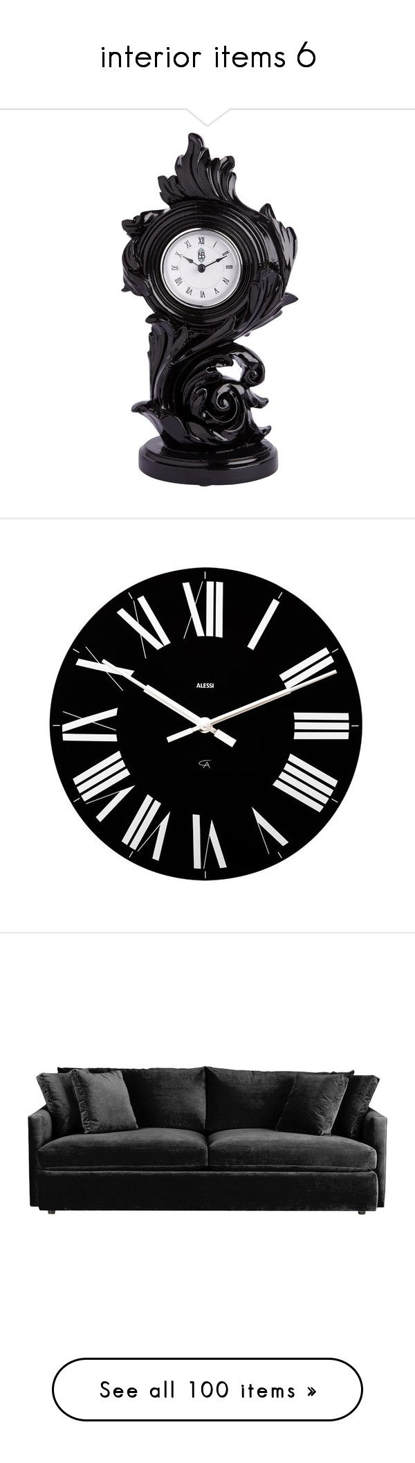 """""""interior items 6"""" by black-string-boutique ❤ liked on Polyvore featuring home, home decor, clocks, decor, fillers, accessories, black clock, black mantle clock, black home decor and black mantel clock"""