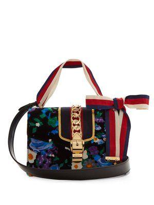 Sylvie floral-print velvet shoulder bag | Gucci | MATCHESFASHION.COM