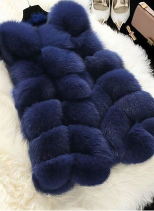 Faux Fur Black Burgundy Pink Royal Blue Sky Blue Lilac White Purple Long Long Sleeve Collarless Coats & Jackets (1028452) @ floryday.com