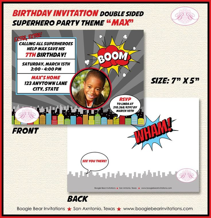 Superhero Photo Birthday Party Invitation Boy Girl 1st 2nd