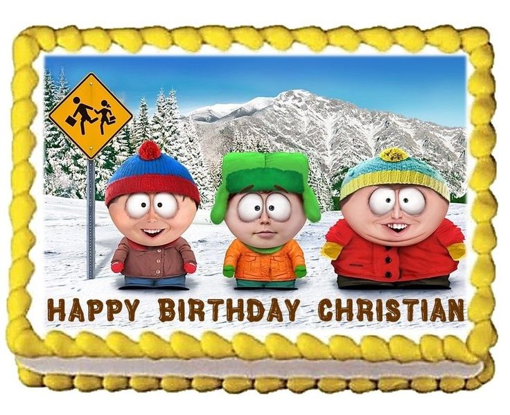 South Park Personalized Happy Birthday Edible Cake Image Topper