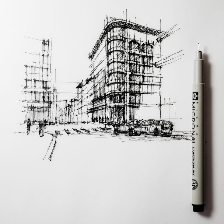 The detailed line work given to this street corner building as opposed to the other shows that this building is the point of interest.