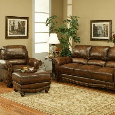 Cambria Leather Sofa And Loveseat Set In Amaretto By Parker 285099 CAM 9300