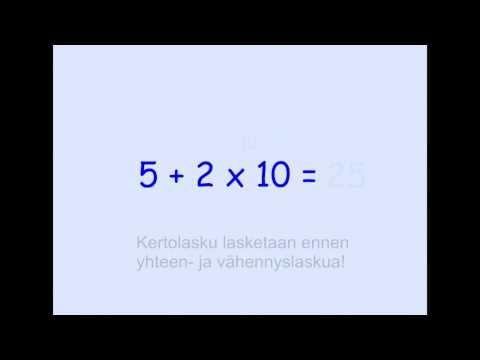 ▶ Laskujärjestys - YouTube (video 3:45).