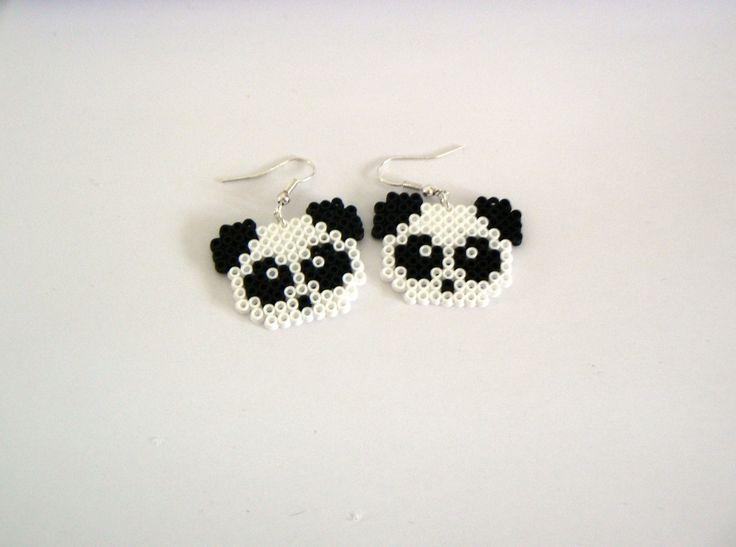 Boucle d'oreilles Panda Perle Hama / Perler Beads