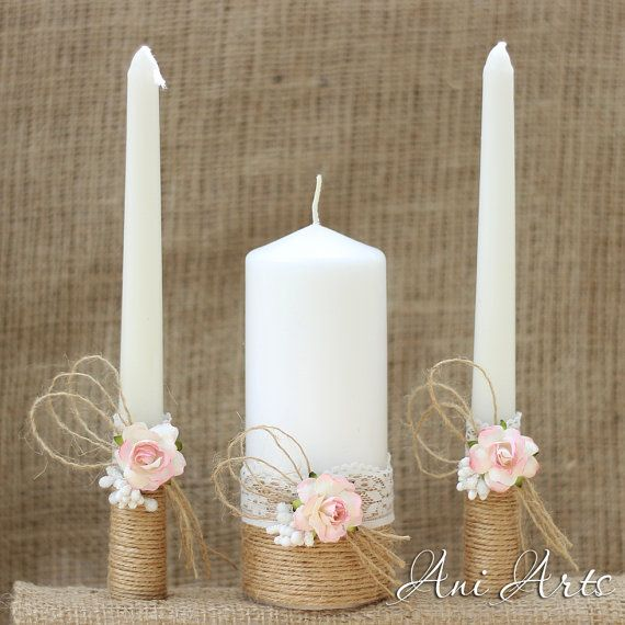 Rustic Wedding Set Unity Candles and Champagne glasses by AniArts