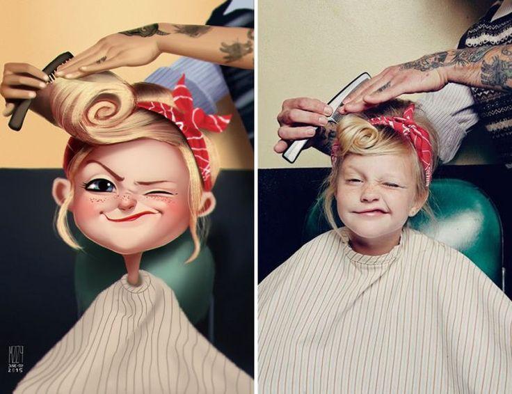 Художник превращает фотографии случайных людей в весёлые иллюстрации