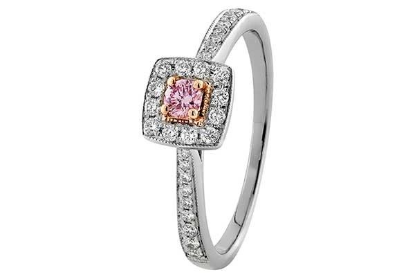 ARGYLE PINK DIAMOND CUSHION HALO ENGAGEMENT RING BY XENNOX DIAMONDS The ultimate gift of love: a diamond engagement ring - Queensland Brides