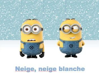 """This story, """"Neige Blanche"""", is perfect for any winter-themed units or months. **All slides are animated and engaging! (e.g. the snow falls on the minions, etc.)  I begin with a shared reading, then set them up in partners to divide their parts and to practice."""