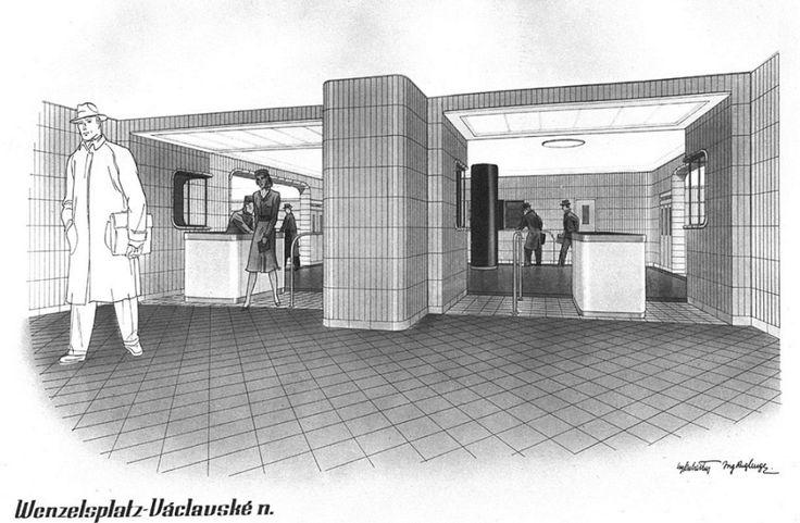 Jak by vypadalo metro, kdyby se stavělo už před válkou: návrh podoby stanice Václavské náměstí