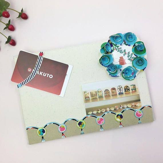 ブルーのお花が付いた小さなメッセージボード可愛いmemo board便利なmemo