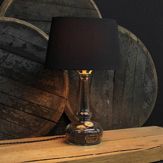 Willett Pot Still Bourbon Bottle Table Lamp // Bourbon Barrel Char Filled Lamp // Willett Pot Still This extravagant, one of a kind, handmade bourbon bottle table lamp has been crafted from an upcycled Willett Pot Still Bourbon bottle and is filled to the brim with authentic Bourbon