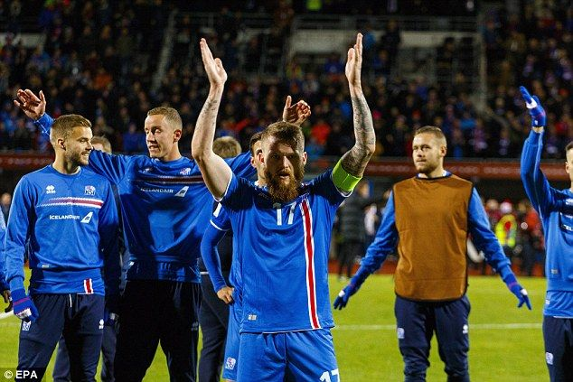 Aron Gunnarsson (centre) leads the 'viking clap' tradition after the men in blue secured the win