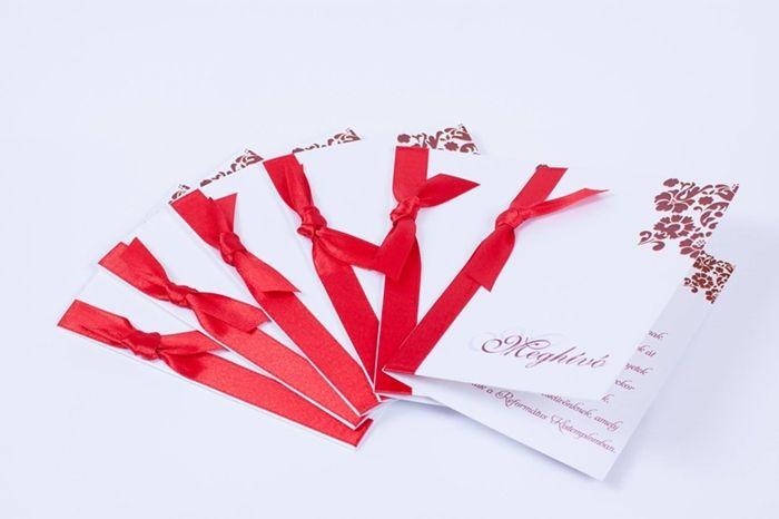 Piros szalagos esküvői meghívó _ red ribbon wedding invitations