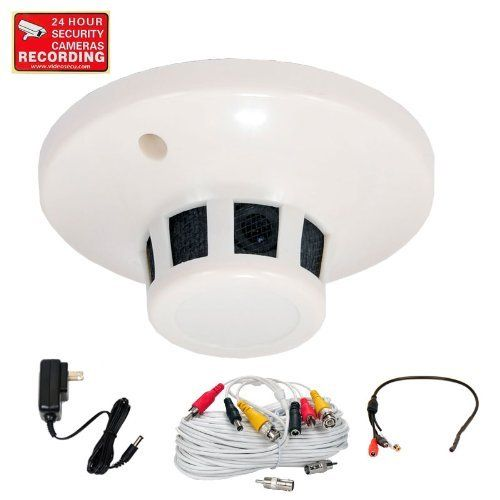 VideoSecu CCTV Home Video Smoke Detector Covert Spy Security Camera Color CCD Wide Angle Lens 420TVL for DVR Surveillance System with Preamp Audio Microphone, Power Supply and Extension Cable CHC by VideoSecu. $63.99. This color CCD video camera, looking like standard smoke detectors, in a Non-Working Smoke Detector Housing. It employs a CCD (charge coupled device) solid-state imaging device which provides high quality and high reliability. It has 420 lines Hi Resolution...