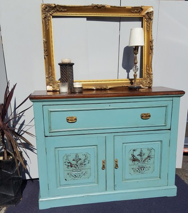 very old writers desk, storage unit painted in an aqua chalk paint sealed with a clear wax and lightly distressed