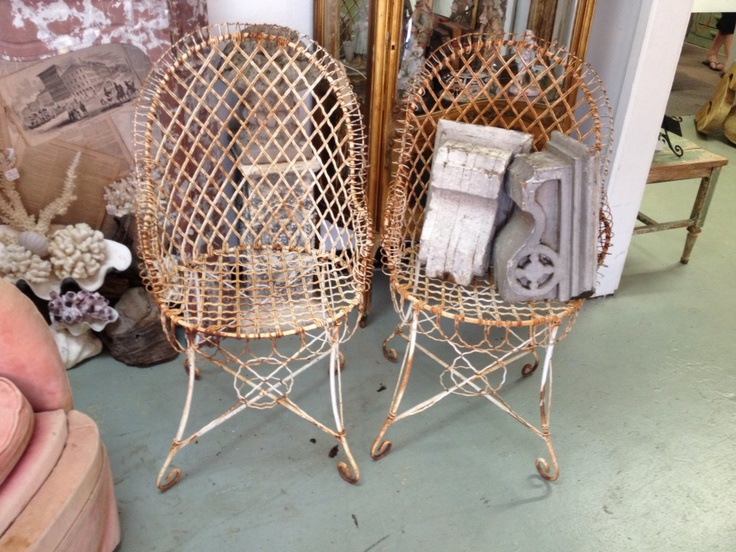 Pair French Wire Chairs  Great for the industrial or Mid Century patio,  $590  Country Garden Antiques 147 Parkhouse  Dallas, TX 75207  Read our blog: http://countrygardenantique.blogspot.com/  Read more: http://dallas.ebayclassifieds.com/furniture/dallas/pair-french-wire-chairs/?ad=27862009#ixzz2T2AhHZME