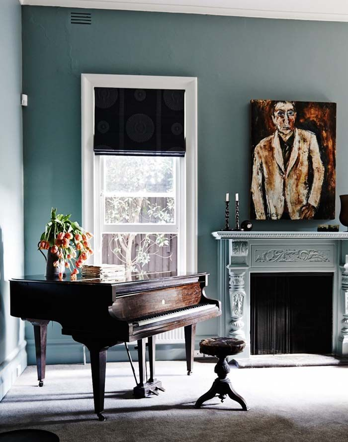Source The Room Edit Teal Living With Grand Piano