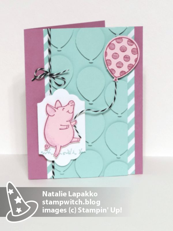 Homemade card by Natalie Lapakko with SNEAK PEEK of This Little Piggy stamps from Stampin' Up!