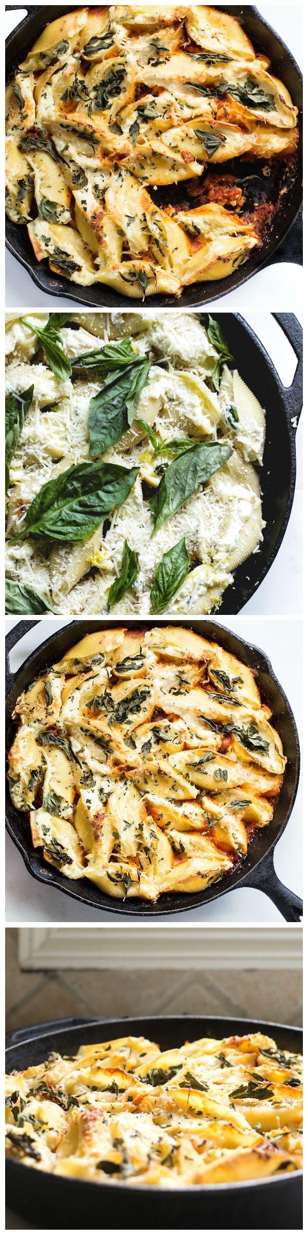 Stuffed Ricotta Parmesan Shells with Roasted Cauliflower and Bertolli Tomato & Basil Sauce! @Bertolli - www.bertolli.com #vivabertolli #yoursummertuscantable