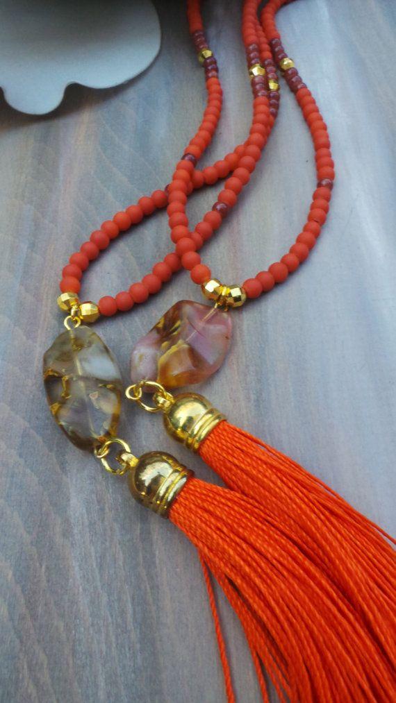 Orange tassel necklace. Long beaded orange by AllAboutEveCreations
