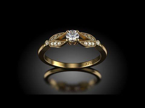 Inel de logodna aur galben cu diamante Chatedral