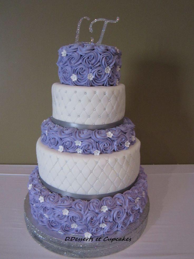 Lavender rosette wedding cake