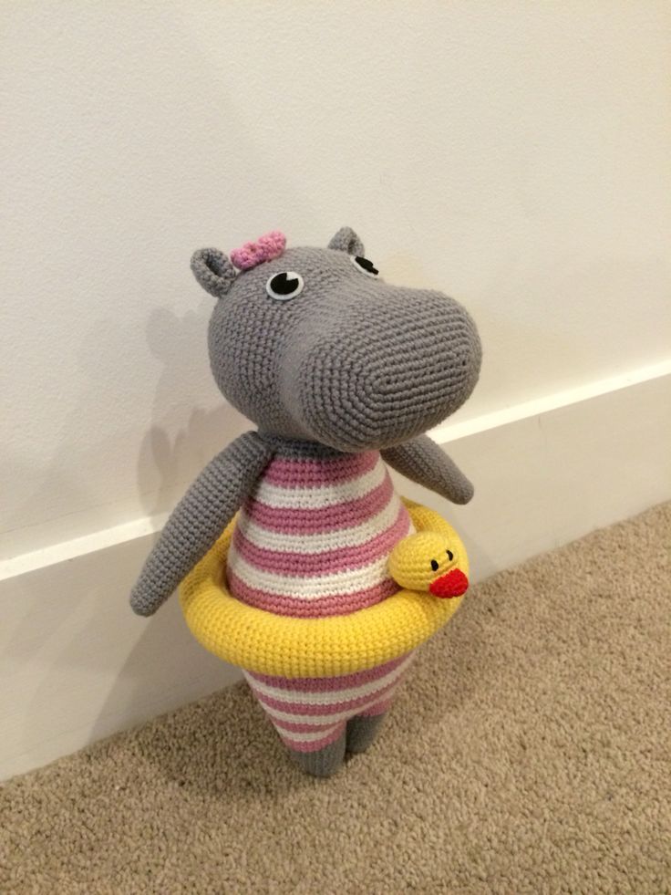 Vivi the Hippo. Pattern from foxogjane.
