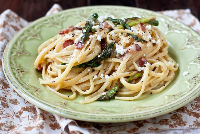 Creamy Goat Cheese and Asparagus Carbonara by foodiebride, via Flickr