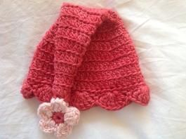 Buglets flower pixie hat in silky raspberry bamboo.